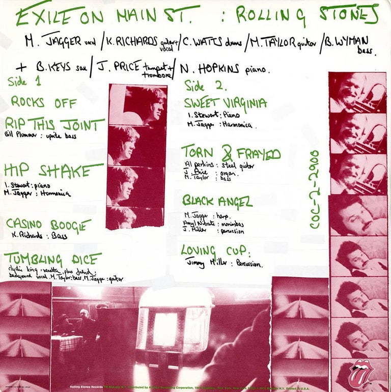 Original Rolling Stones Exile On Main Street Vinyl Record