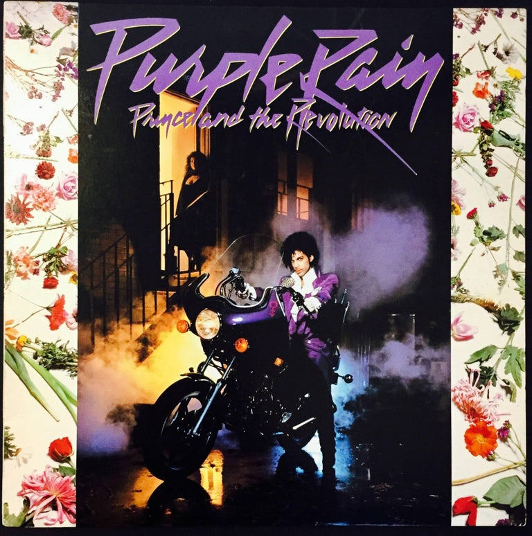 Prince Purple Rain 1st Pressing; original vinyl record album and cover, 1984. Includes rare, original large-sized fold-out poster; as well as the original album insert. 