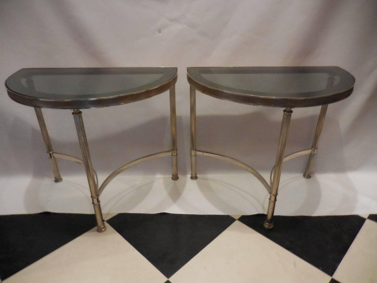 Mid-Century Demilune Side Tables, Pair 2