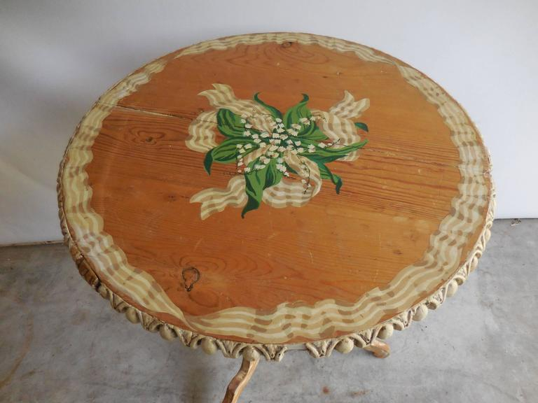 Pine Floral Painted Side Table, 1950s 2