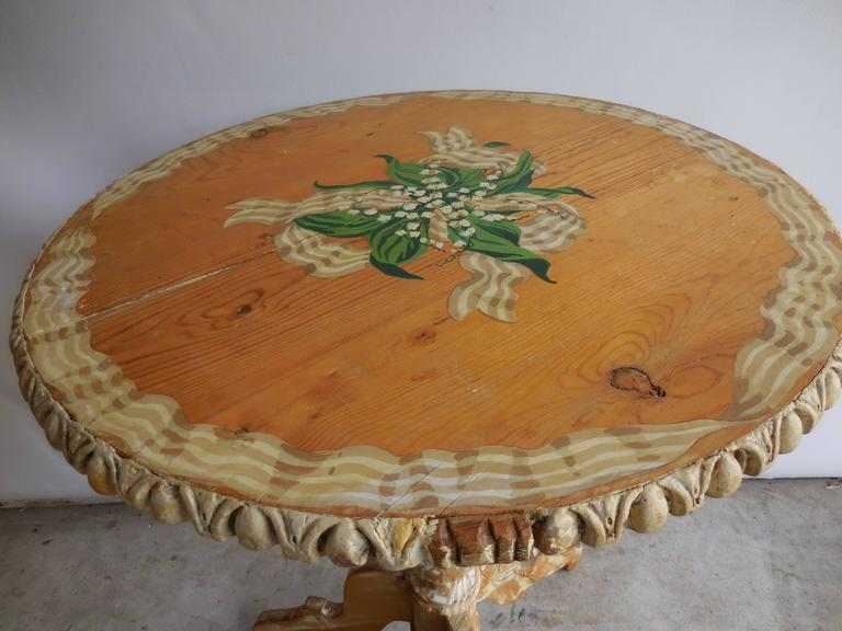 Pine Floral Painted Side Table, 1950s 4