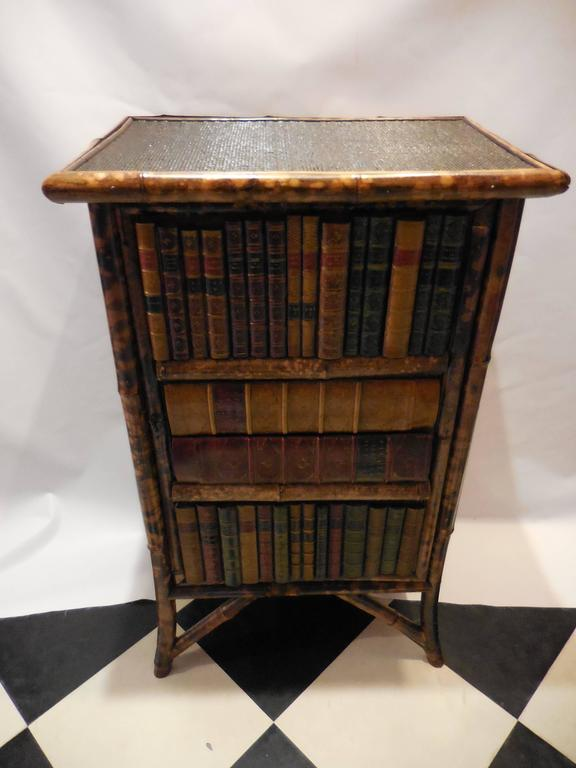 Mid-20th Century Bamboo Library Cabinet 2