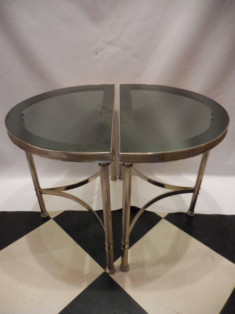 Mid-Century Demilune Side Tables, Pair 3