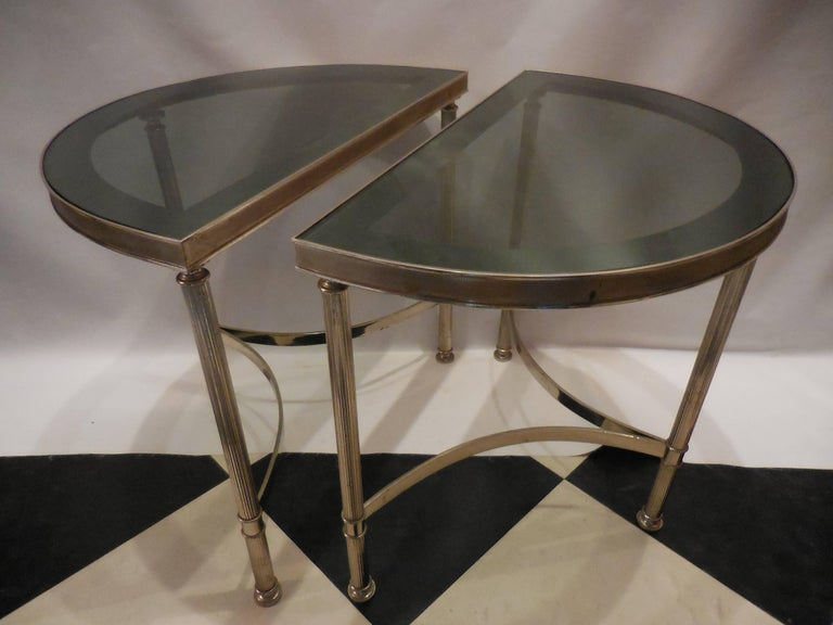 Mid-Century Demilune Side Tables, Pair 4