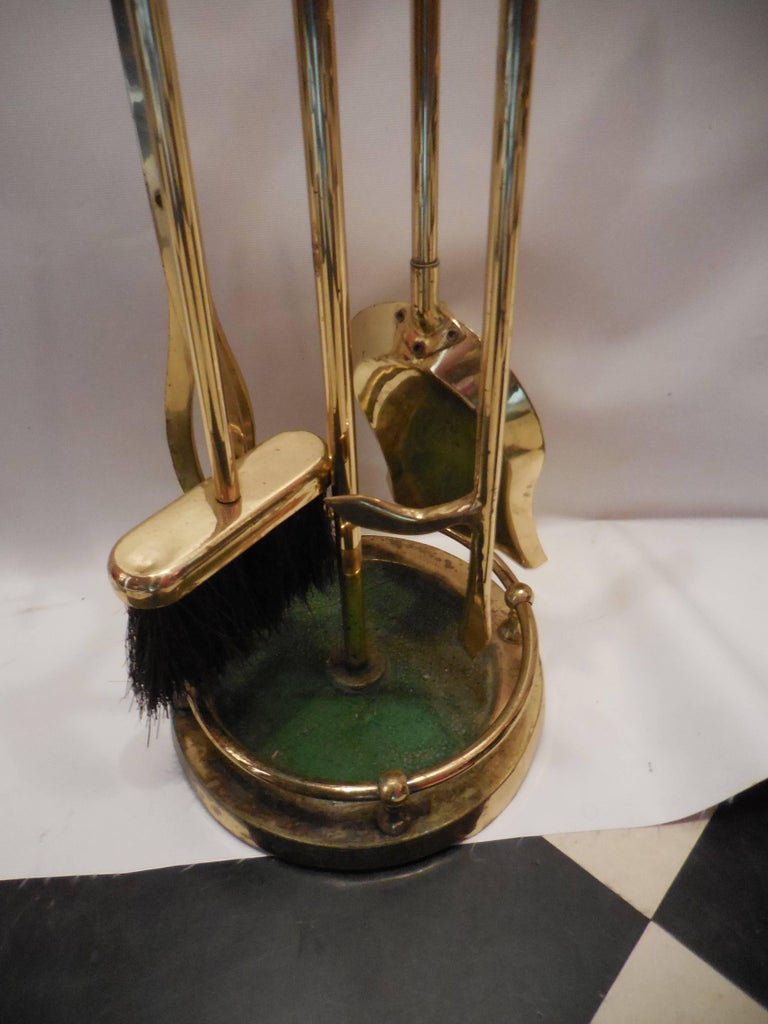 Set of Artisan Golf Club Themed Brass Fireplace Tools 3