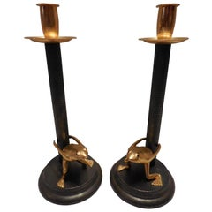 Vintage-Signed Italian Candleholders, Pair