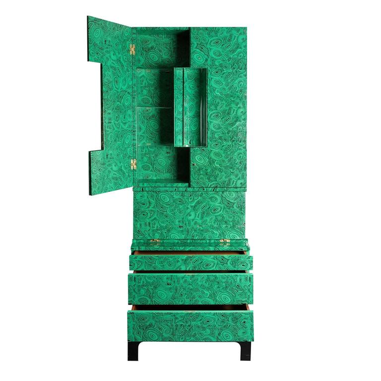 Italian Fornasetti Malachite Trumeau Cabinet, 2010 For Sale