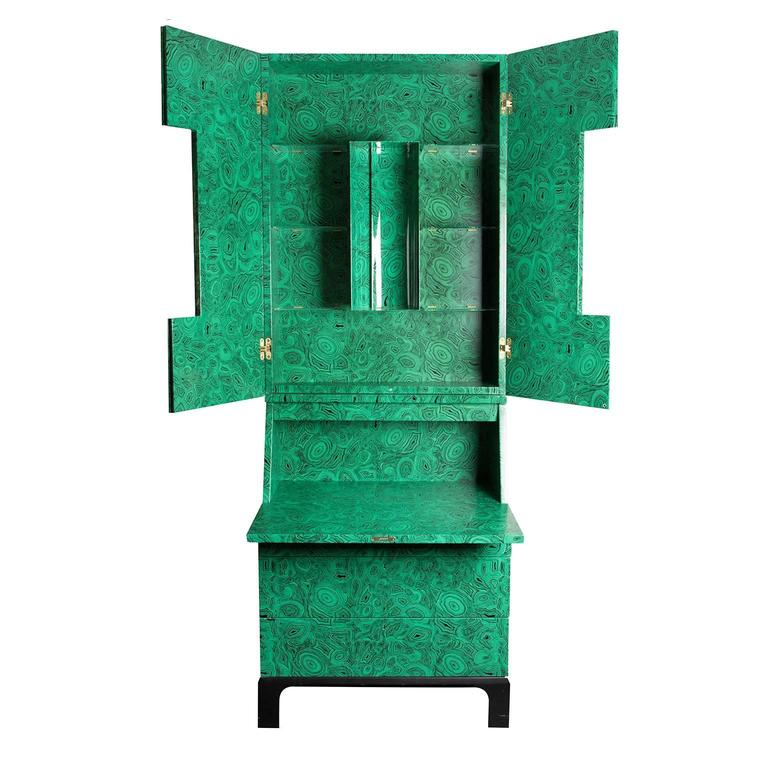 Fornasetti Malachite Trumeau Cabinet, 2010 In Good Condition For Sale In LOS ANGELES, CA