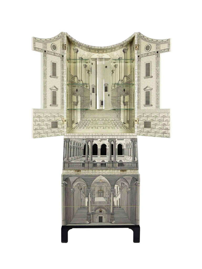 Italian Fornasetti-Trumeau Architecture Black or Ivory, 2017 For Sale