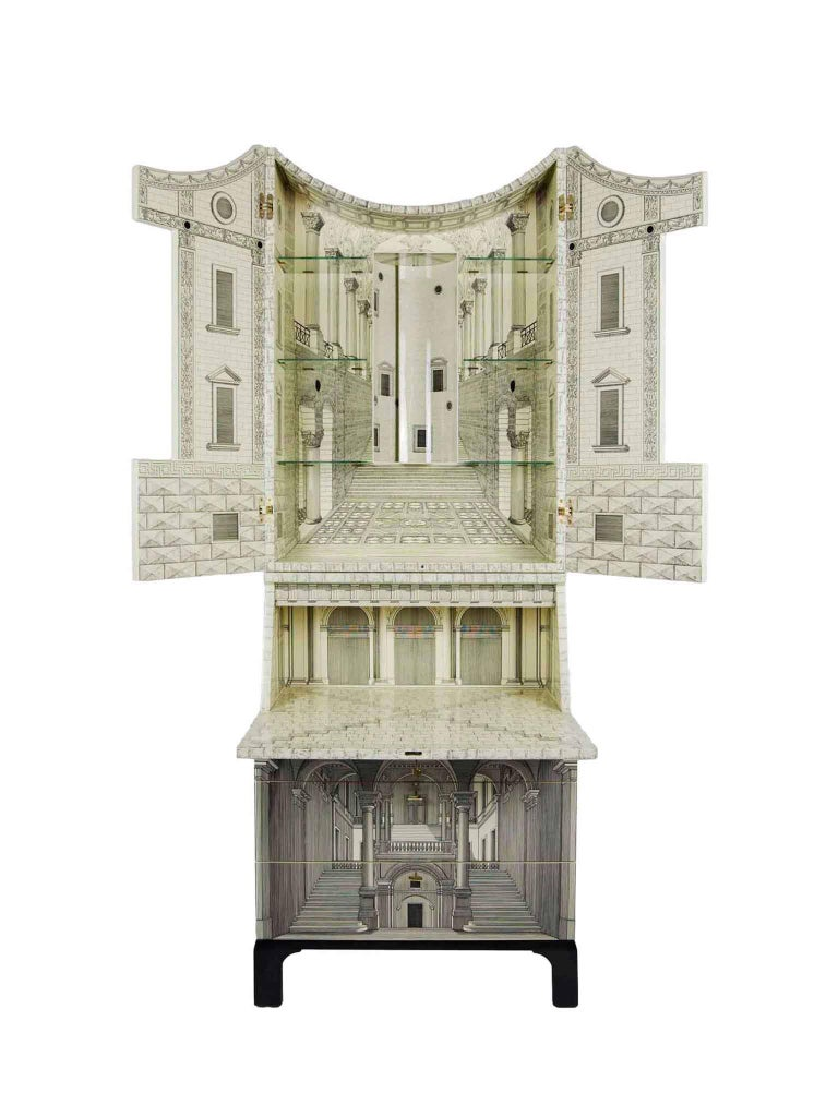 Contemporary Fornasetti-Trumeau Architecture Black or Ivory, 2017 For Sale