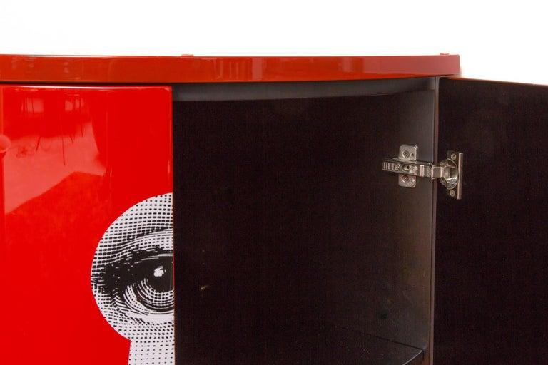 Italian Fornasetti Corner Cabinet, Serratura, Red For Sale