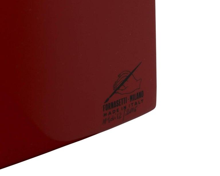 Fornasetti Corner Cabinet, Serratura, Red In Excellent Condition For Sale In LOS ANGELES, CA