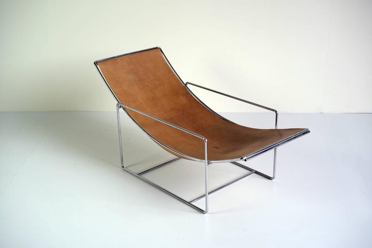 Minimalist Lounge Chair Fawn Leather And Chrome 1970 At