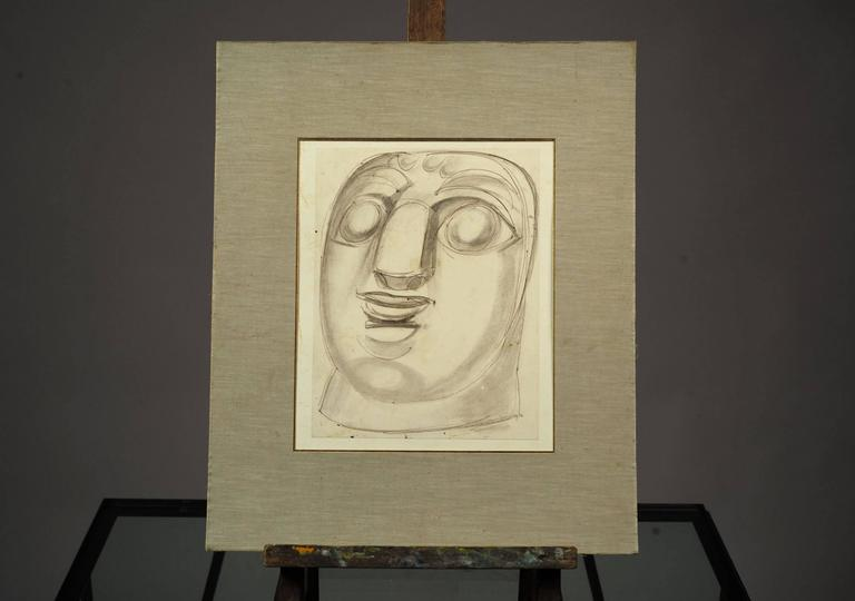 "Mask, drawing with pencil and pen by Henry de Waroquier, signed and dated 1914 in the lower right. ""Painter, sculptor and engraver, Henry de Waroquier (1881-1970) was born in Paris. He did not take any painting courses but worked and met many"