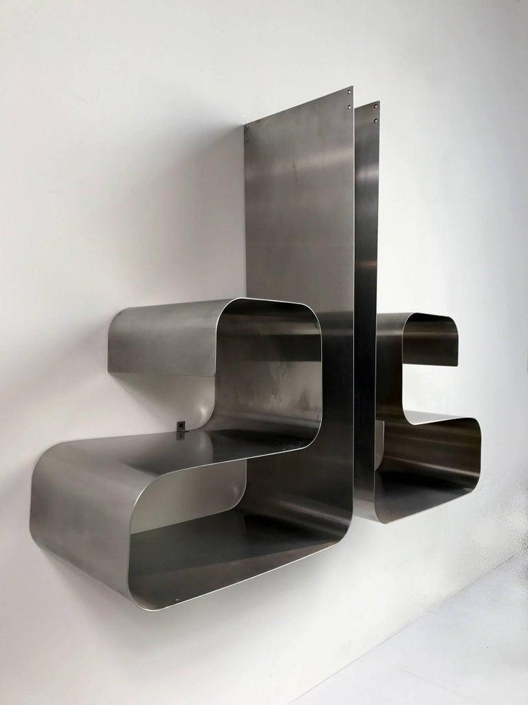 French Zig-Zag Shelves by Joelle Ferlande & François Monnet for Kappa, 1970, Set of Two For Sale