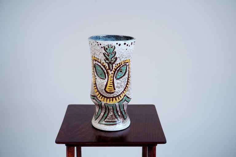 Accolay Ethnic Vase With Two Faces France 1960 For Sale At 1stdibs