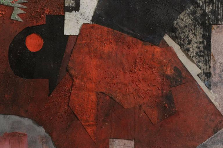 Composition abstracted from Charlotte Henschel (1905-1985), France, 1950, signed low right. Frame of origin, under glass.  99.5cm/72.5cm (off frame) Raise of the school of Paris, Charlotte Henschel is of German Jewish origin. Roger Bissiere