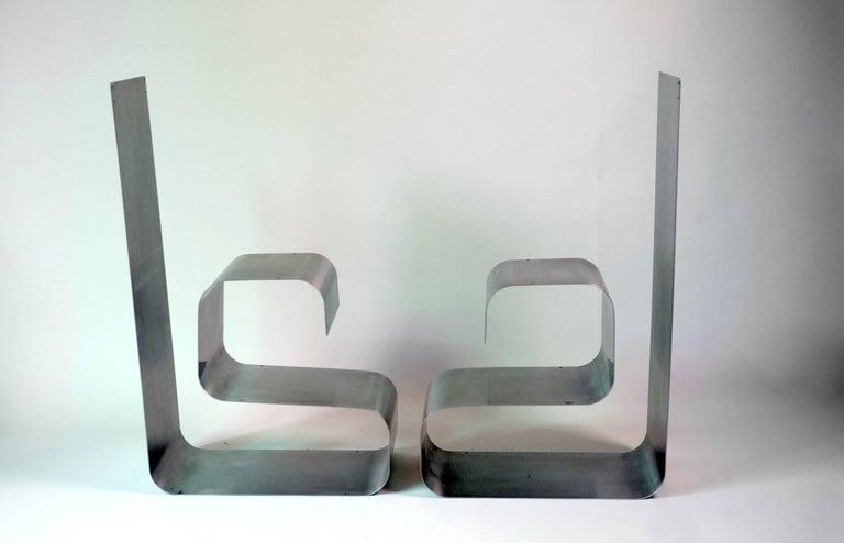Steel Zig-Zag Shelves by Joelle Ferlande & François Monnet for Kappa, 1970, Set of Two For Sale