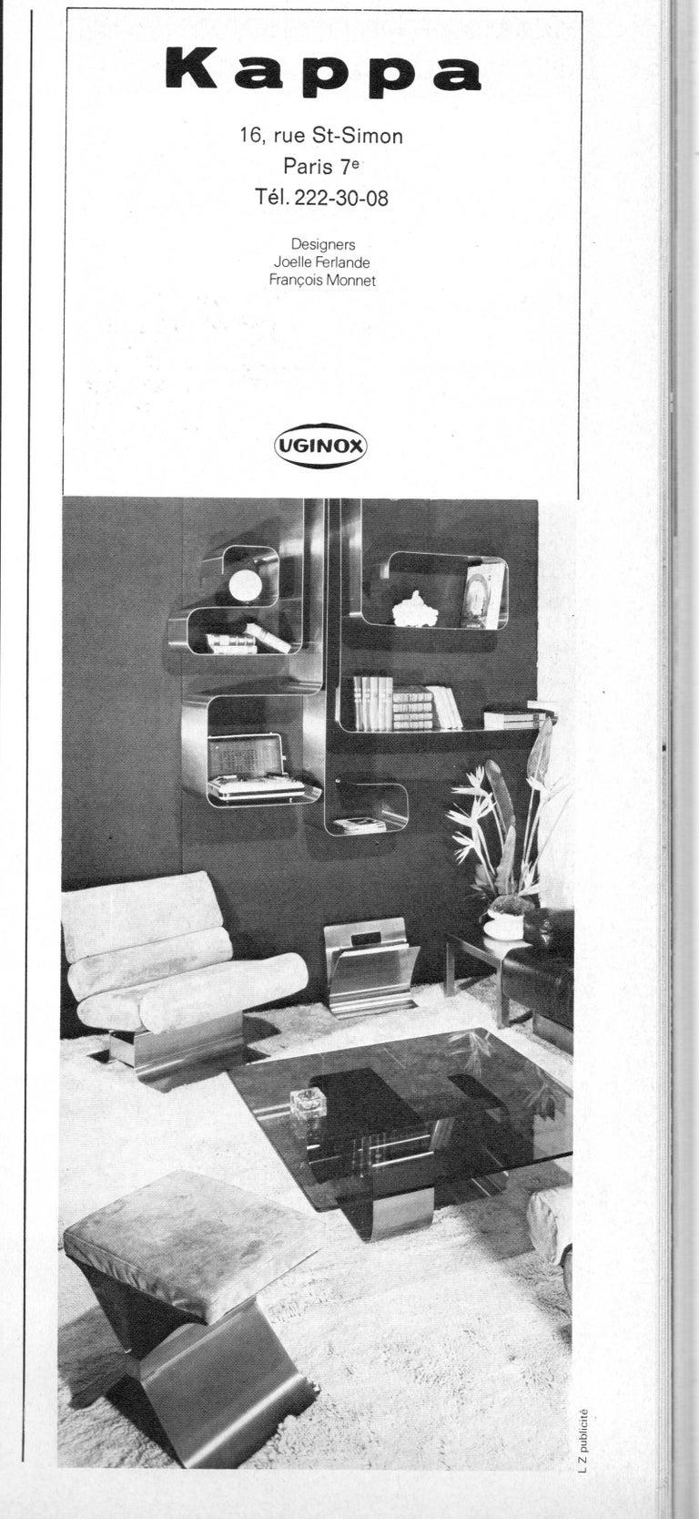 Zig-Zag Shelves by Joelle Ferlande & François Monnet for Kappa, 1970, Set of Two For Sale 2