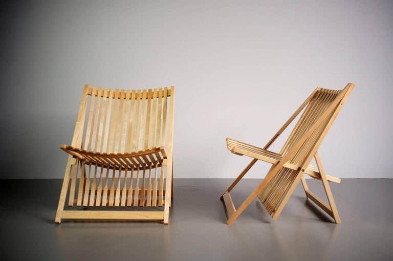Maple Jean-Claude Duboys, Pair of A1 Armchairs, France, 1980 For Sale