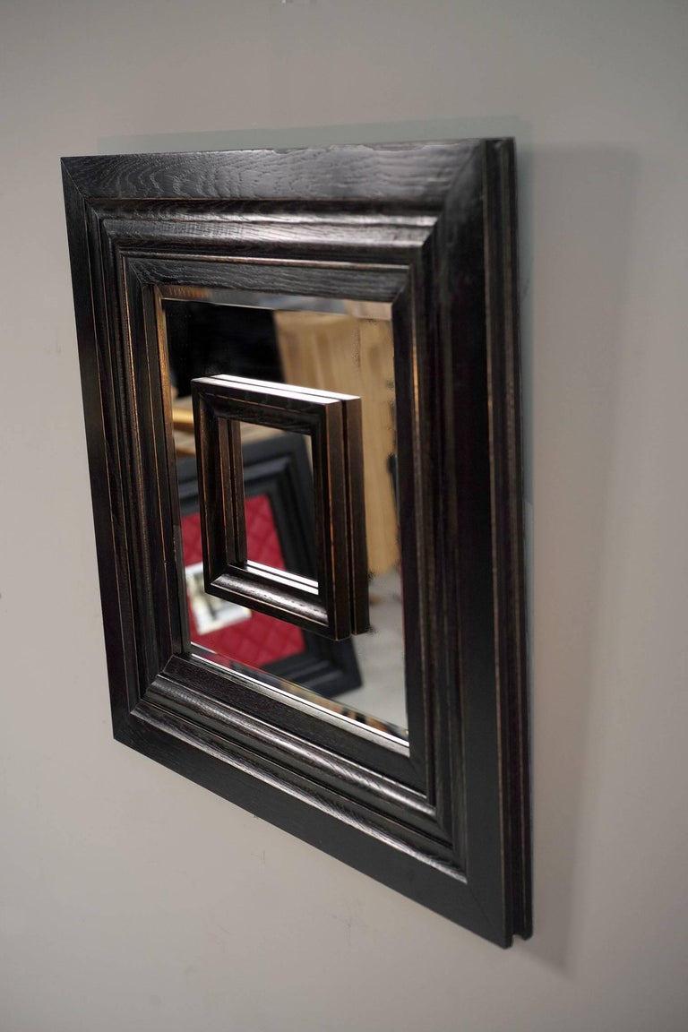 Prototype no 0 of Philippe Delzers' Flamand mirror for Etitis, France 2006 Blackened oak, worn,  beveled mirror. Perfect condition, from personal collection of Philippe Delzers. Certificate of authenticity provided..  Phillipe Delzers, after