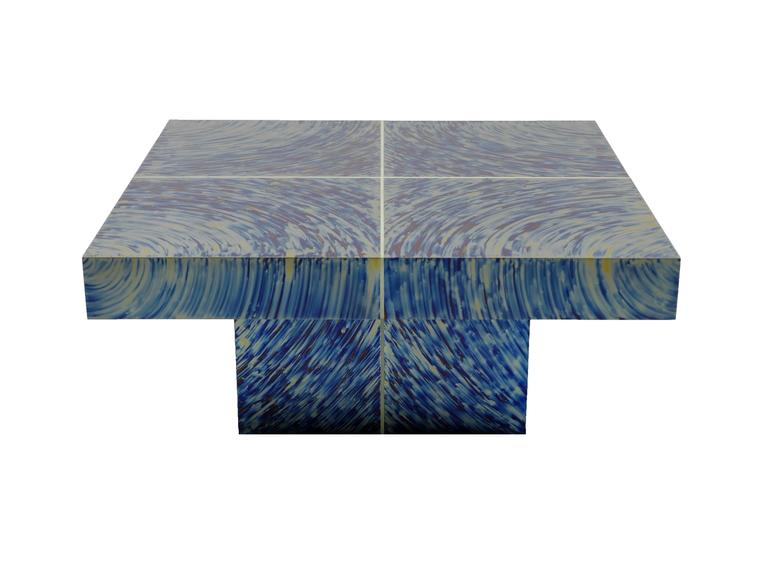 The HYPNOSE coffee table by Xavier Mennessier, is made of hand patinated titanium with fluorescent lines. Signed and numbered. Custom sizes and patinas available. Please, contact us! This table may be in stock. Check with us for