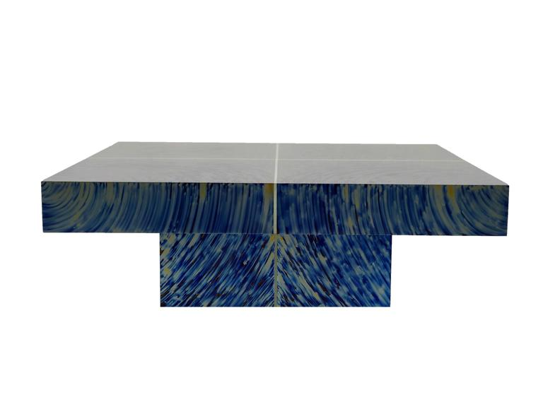 Anodized HYPNOSE coffee table in titanium by Xavier Mennessier For Sale
