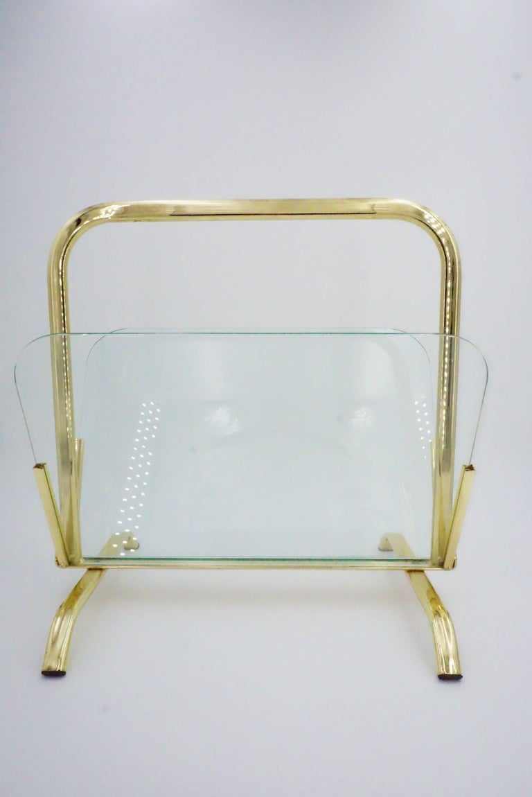 Glass And Brass Magazine Rack Hollywood Regency For Sale 2