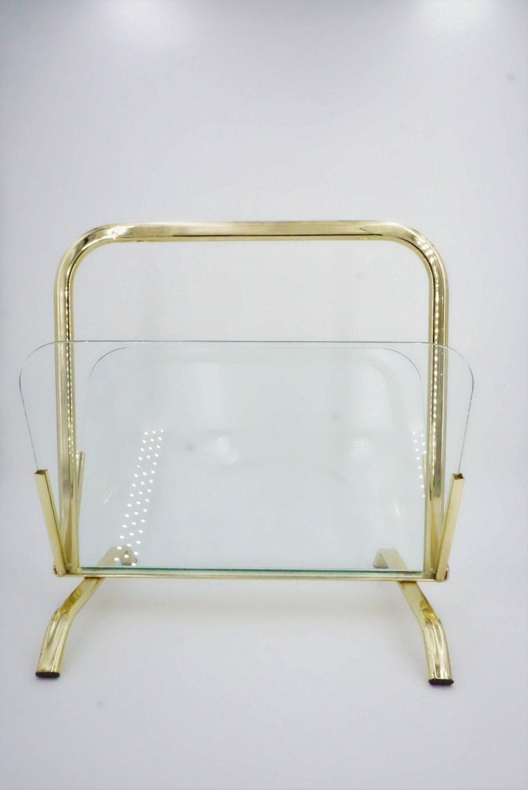 Glass And Brass Magazine Rack Hollywood Regency For Sale 1