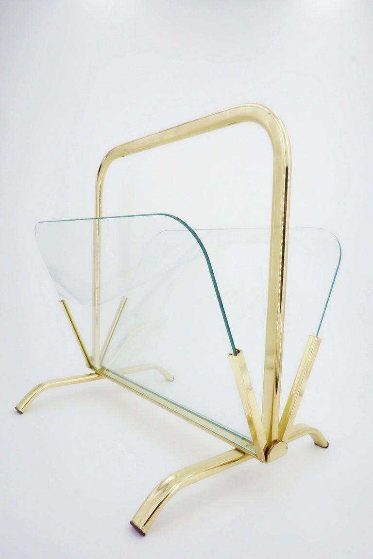 20th Century Glass And Brass Magazine Rack Hollywood Regency For Sale