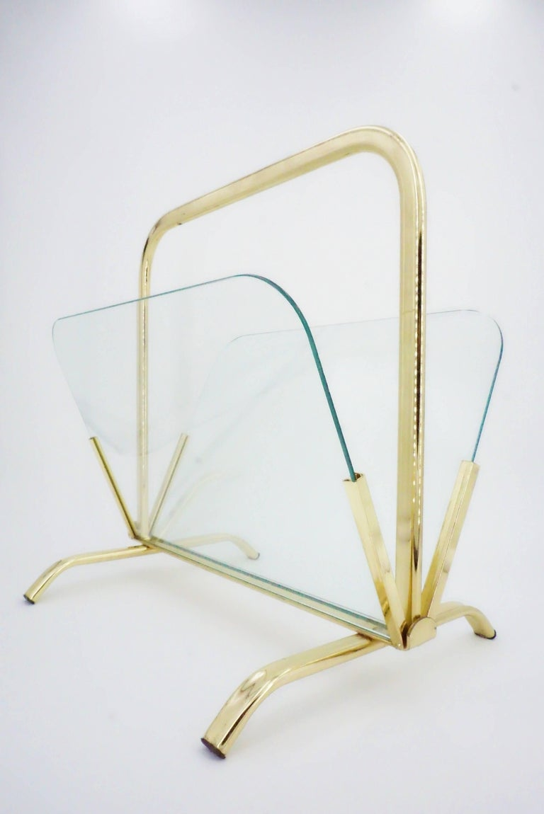 Metal Glass And Brass Magazine Rack Hollywood Regency For Sale
