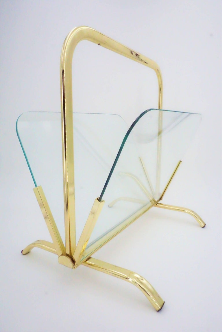 Glass And Brass Magazine Rack Hollywood Regency For Sale 3