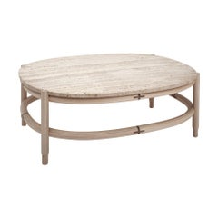 Travertine and Wood Oval Design Coffee Table