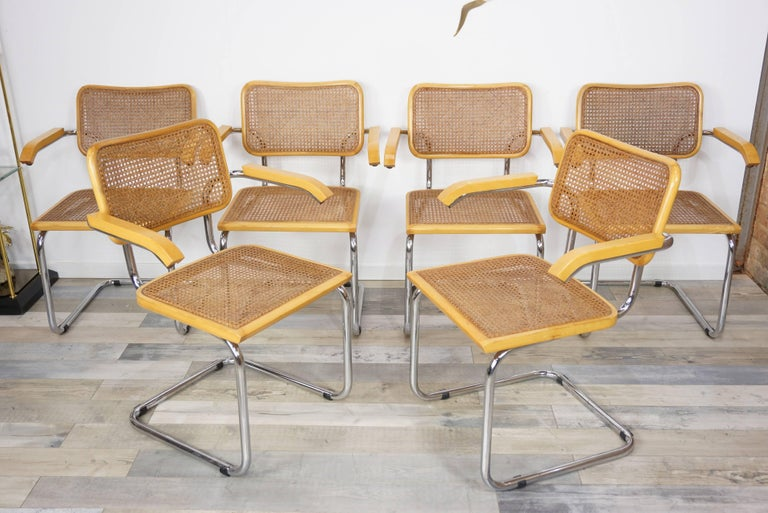 Set of Six Armchairs Cesca B64 Model Marcel Breuer Design In Excellent Condition For Sale In TOURCOING, FR