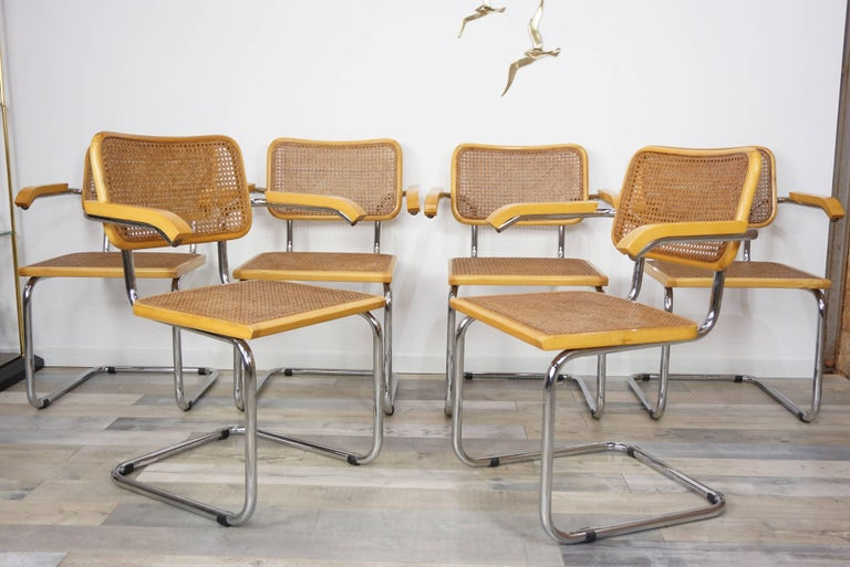 Set of Six Armchairs Cesca B64 Model Marcel Breuer Design For Sale 1