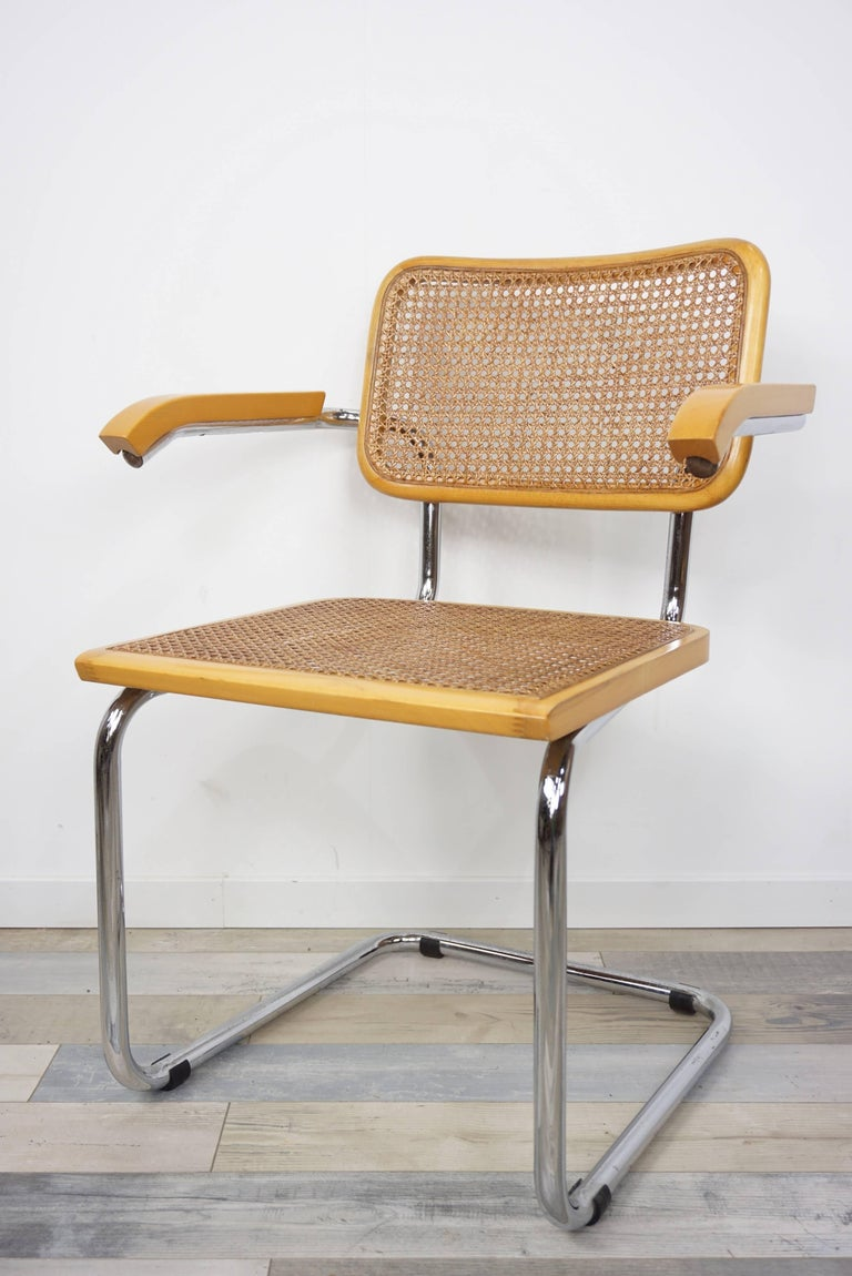 Set of six chairs Cesca B64 Marcel Breuer design, 1970s, Made in Italy, composed of a structure called