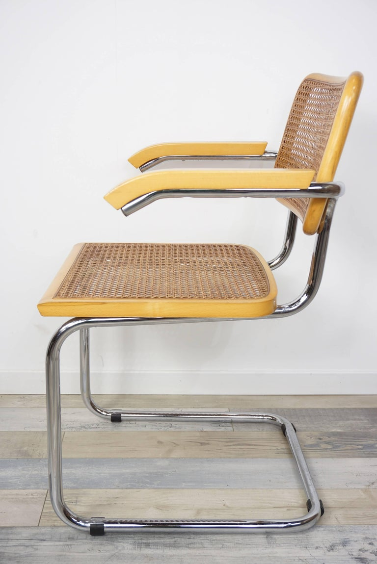 Mid-Century Modern Set of Six Armchairs Cesca B64 Model Marcel Breuer Design For Sale