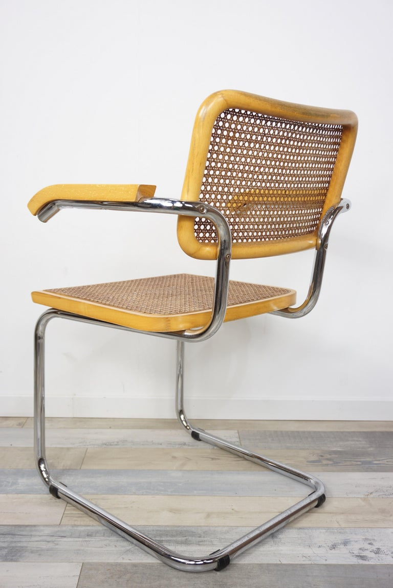 Mid-Century Modern Armchair Cesca B64 Model French Design Marcel Breuer For Sale