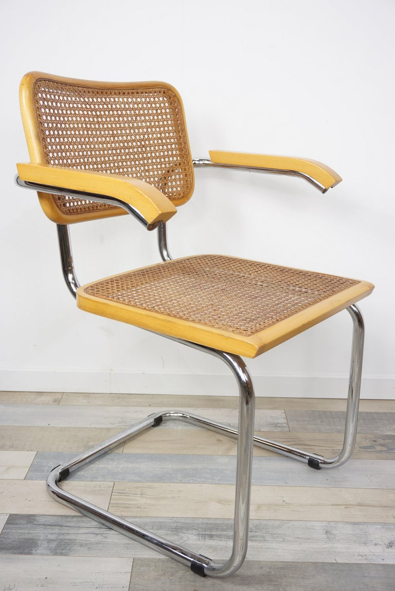 Metal Armchair Cesca B64 Model French Design Marcel Breuer For Sale