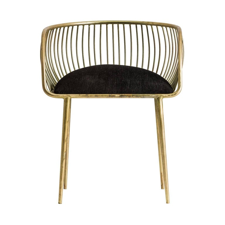 Gold and black fabric armchair, outstanding shape, comfortable, and so trendy!