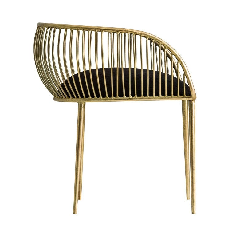 Organic Modern Pair Of Gold Patina Metal Structure and Black Fabric Armchairs For Sale