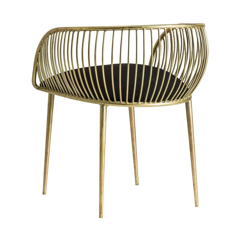 European Pair Of Gold Patina Metal Structure and Black Fabric Armchairs For Sale