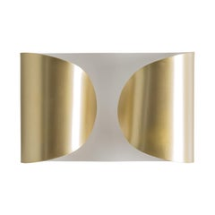 White Lacquer and Gold Pair of Wave Wall Lights