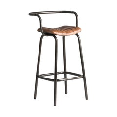 Pair of Industrial Style Black Metal and Cognac Leather Bar Stools