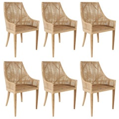 Rattan and Wooden Set of Six Armchairs French Design
