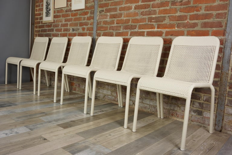 Mid-Century Modern Set of Six Warm White Resin French Design Chairs For Sale