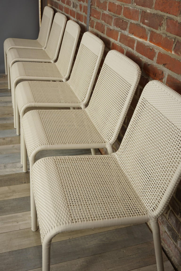 Set of Six Warm White Resin French Design Chairs In Excellent Condition For Sale In TOURCOING, FR