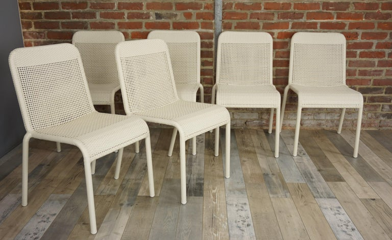 Contemporary Set of Six Warm White Resin French Design Chairs For Sale