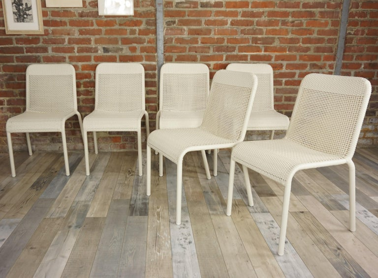 Aluminum Set of Six Warm White Resin French Design Chairs For Sale