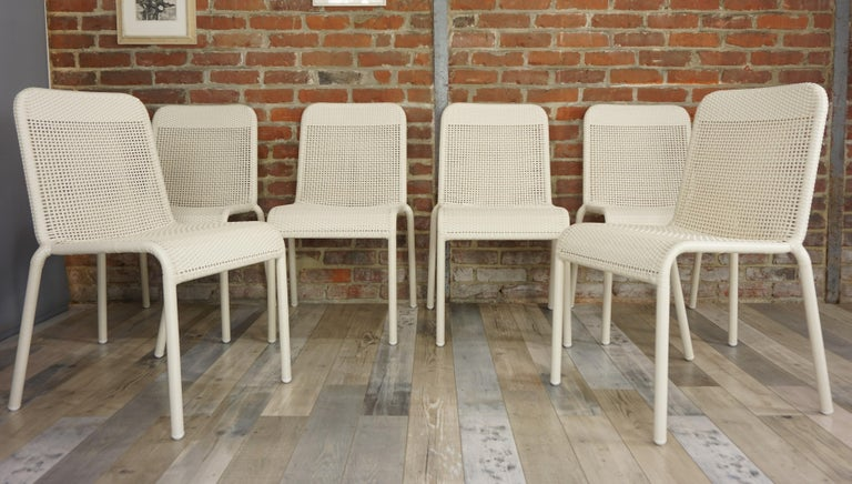 Set of Six Warm White Resin French Design Chairs For Sale 1